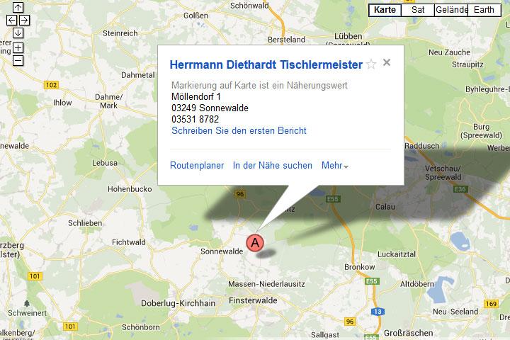 Anfahrt zur Tischlerei Herrmann